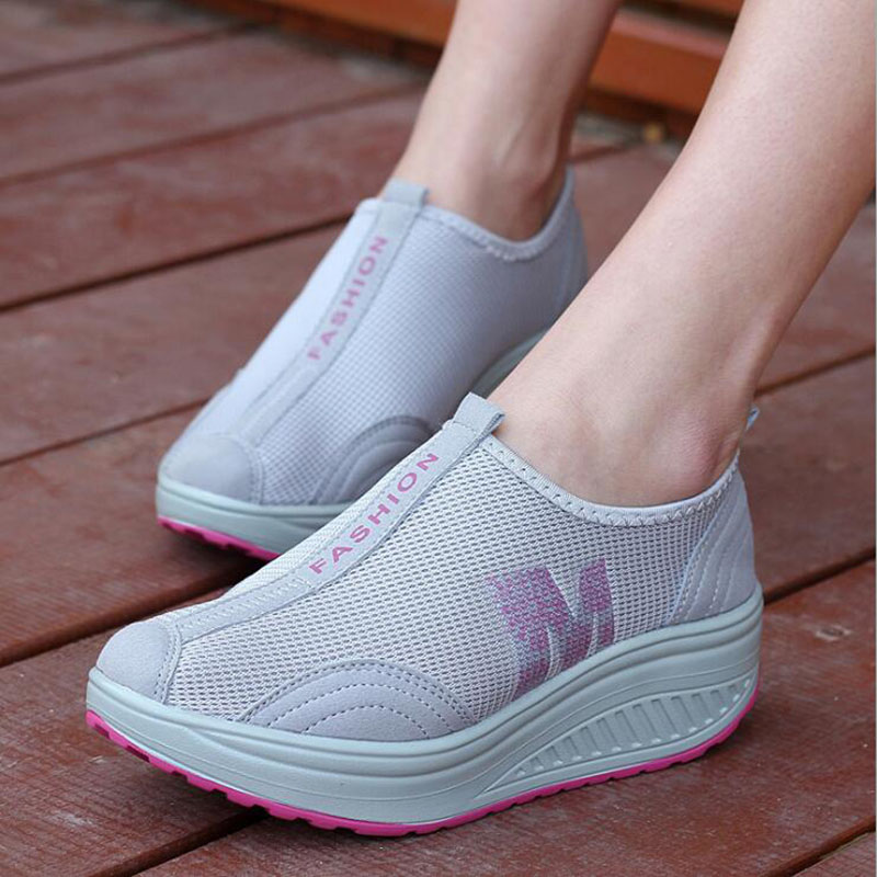 Summer Women Casual Shoes Swing Platform Elevator Shoes Sport Breathable Female Net Fabric Footwear For Women Mocasines Mujer(China (Mainland))