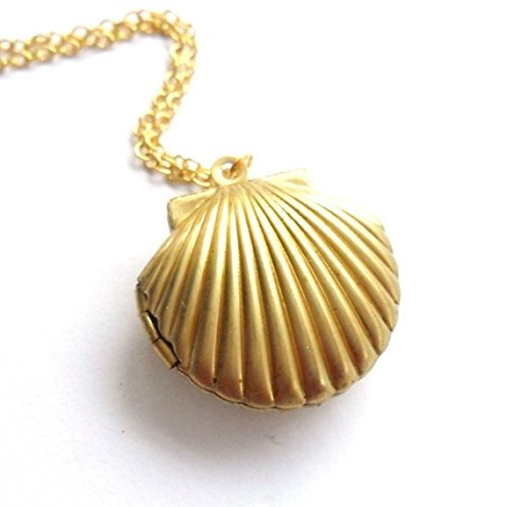 3Pcs Seashell Locket Pendant Gold Locket Gold Brass Sea Shell Necklace(China (Mainland))