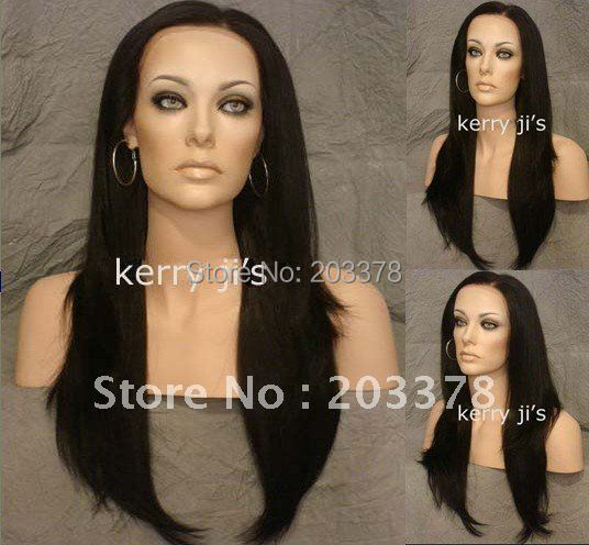"24"" Synthetic Black Brown #2 Long Lace Front Wig Wigs with Slight Body and Layers free shipping"