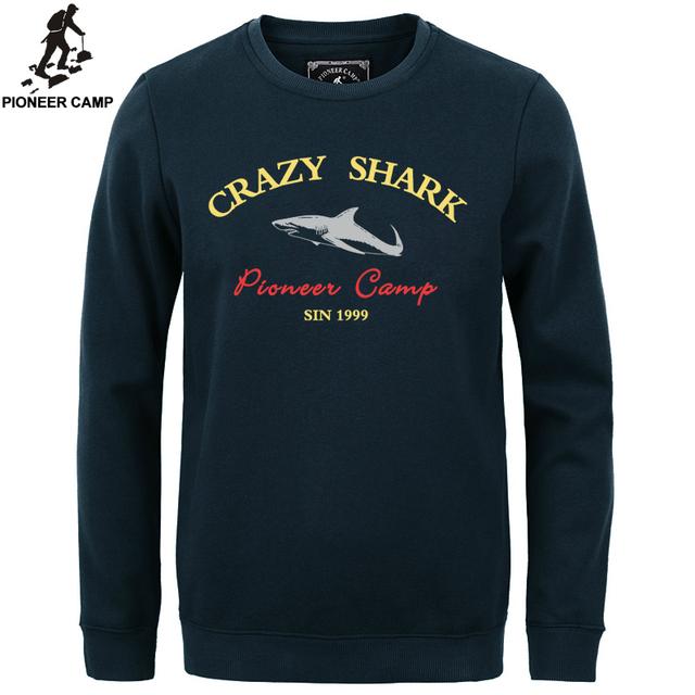 Пионерский Лагерь 2016 мода руно сгущает толстовки мужчины теплый 100% хлопок марка одежды casual male капюшоном акула мужчины футболка XXXL