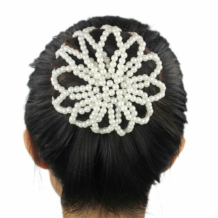 2017 New Hand Woven Bag Ladies Fashion Pearl Snood Hot Elastic Hair Bun Hair Net Ballet Covers Ornament new Lady Women(China (Mainland))