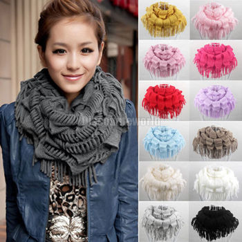 High Quality 2015 Fashion New Womens Winter Warm Knitted Layered Fringe Tassel Neck Circle Shawl Snood Scarf Cowl 13 Colors