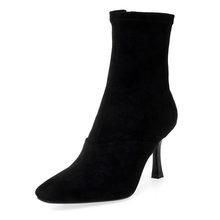 ISNOM Yılan Derisi Çizmeler Kadınlar Seksi yarım çizmeler Kare Ayak Ayakkabı Kadın Parti Yüksek Topuklu Ayakkabılar Bayanlar Kış 2019 Artı Boyutu 43(China)