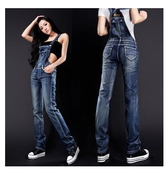 2014 denim bib pants female spaghetti strap slim jeans jumpsuit 8530 - Online Store 416591 store