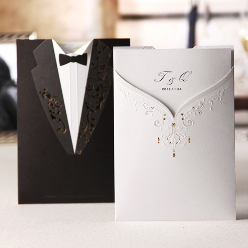 Personalized Groom & Bride Free Customized Colourful Printing Wedding Invitations Cards (Set 50) - Paper Spiritz store