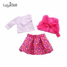 4 piezas de ropa de muñecas americanas Chaleco de invierno camiseta vestido medias traje para muñecas de 43 cm y 18 pulgadas muñeca de juguete accesorios de Navidad(China)