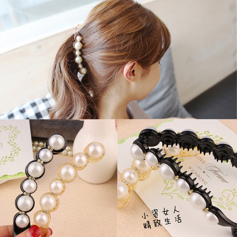 Korea Temperament Pearl Banana Clip Super Sweet Flavor Hairclip Style Jewelry 2015 Limited Sale Hairband Kids(China (Mainland))