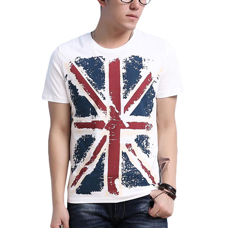 Free Shipping England Style Uk Flag Print T Shirt Men