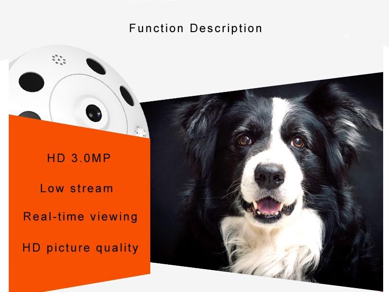 3.0mp Home IP WIFI Camera HD 3MP Two-way Audio Activity Alert YUNSYE Smart IP WIFI Webcam 360 degree panoramic camera IR CUT