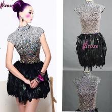 Erose Echt Fotos Kurz High Neck Flügelärmeln Perlen Top schwarz Feder Cocktailkleid Mädchen Partei Kleid LCK-0013(China (Mainland))