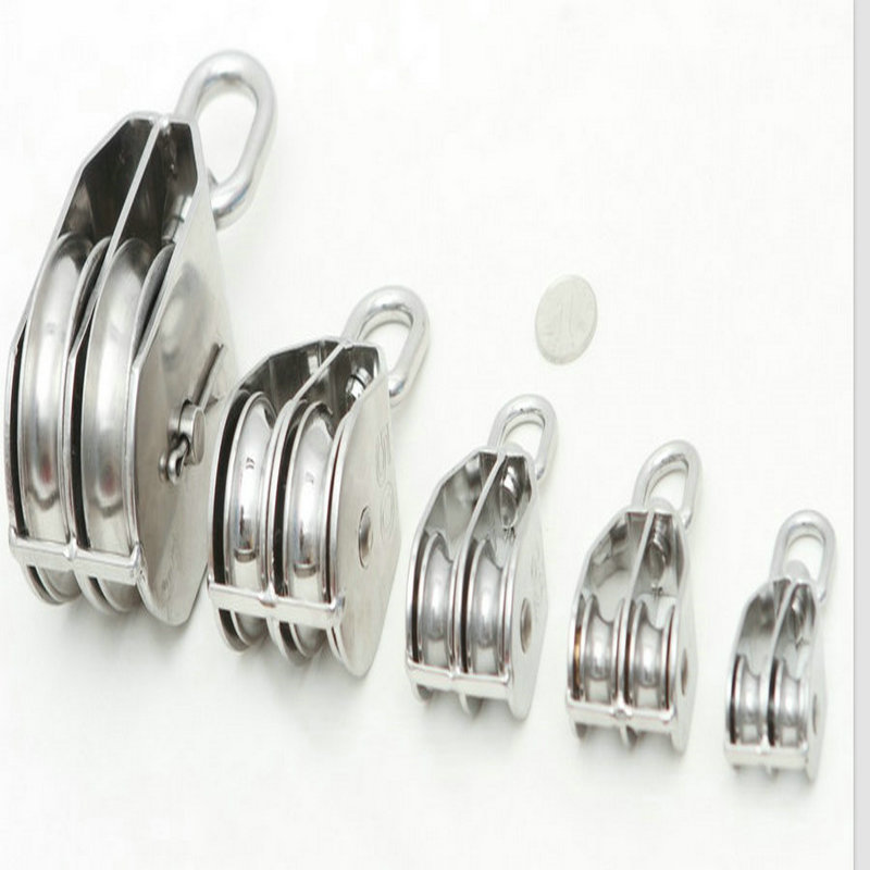 M15(15MM Wheel Dia) Wholesale Lifting Stainless Steel 304  Small Eye Swivel Two Wheels Double Pulley Block<br><br>Aliexpress