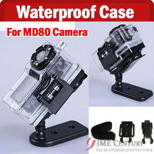 Good quality waterproof case md80,Sports Video Camera MD80 WaterProof Case+Brackets+Belt,Mini DVR Camera waterproof case(China (Mainland))