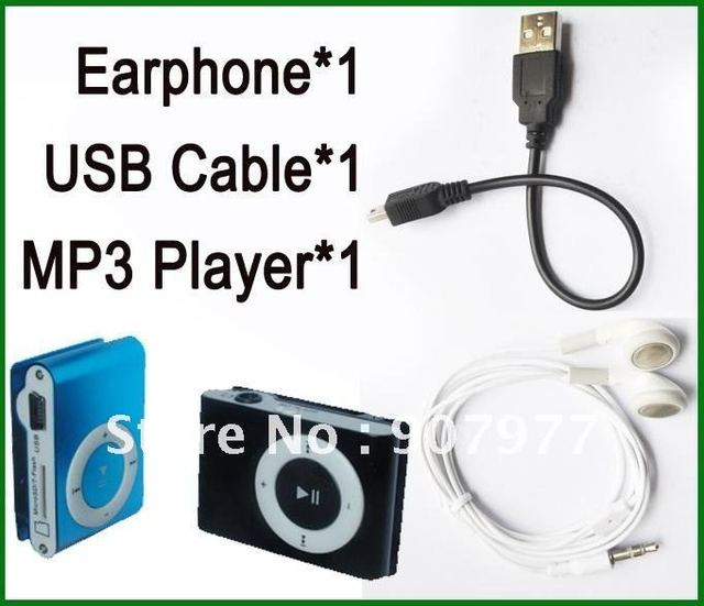 10 set/lot  wholesale New metal mini Clip Mp3 player+usb cable+earphone with tf card slot+8 colors+Free shipping+Chinapost mail