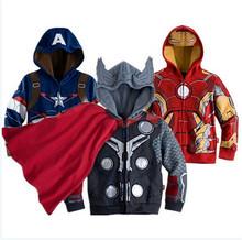 Chicos los vengadores chaqueta de los niños capa de los niños superhéroe Captain America capa y Boy chaquetas ropa de los niños()