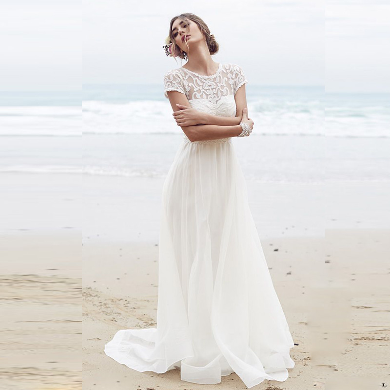 White long chiffon beach wedding dress 2015 lace plus size for Beach wedding dresses for plus size