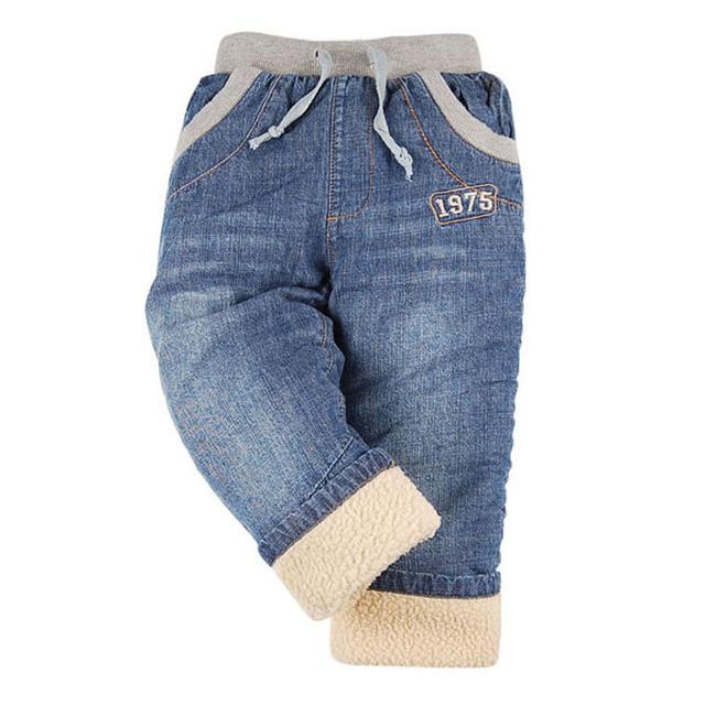High quality KK-RABBIT Winter Thick Cashmere Kids Boys Baby Pants Children Jeans