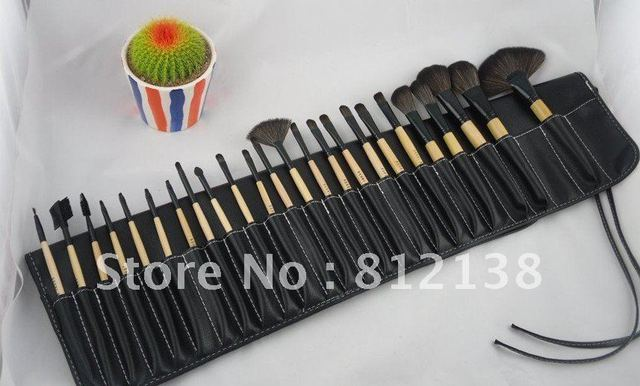 Hot selling High quality 24pcs Professional Cosmetic make up  Brush set  + leather Pouch