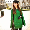 dabuwawa autumn and winter dress 2016 women s bright green new slim cape korean temperament bow