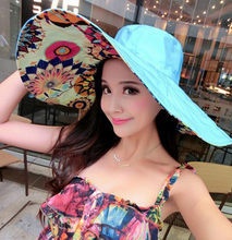 Summer large brim beach sun hats cap for women UV protection hat women with big heads foldable style fashion lady's sun hat 2016(China (Mainland))
