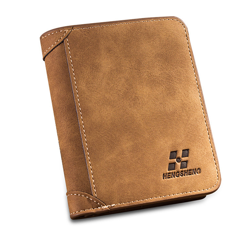 2016 men leather scrub slim short sport dollar wallet vintage male designer brand purses credit card coin holders minimalist(China (Mainland))