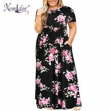 Nemidor 2019 Hot Sales Vrouwen O-hals Lange Mouw Lange Zomer Casual Dress Plus Size 7XL 8XL 9XL Vintage Maxi Jurk met Zakken(China)