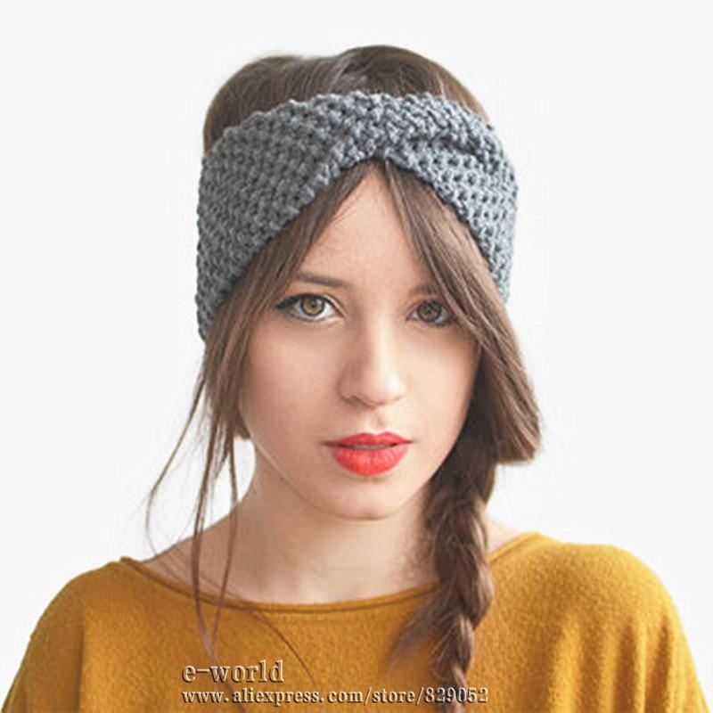 New 14 Colors Winter Crochet Bow Knitted Head Wrap Headband Ear Warmer Women Turban Stylish Hair accessories Free Shipping A0412(China (Mainland))