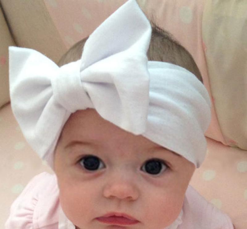 10 Colors Hot Baby Girls Big Bow Hairband Stretch Turban Knot Head Wrap Kids Solid Cotton Headband Wrap Head Node W1(China (Mainland))
