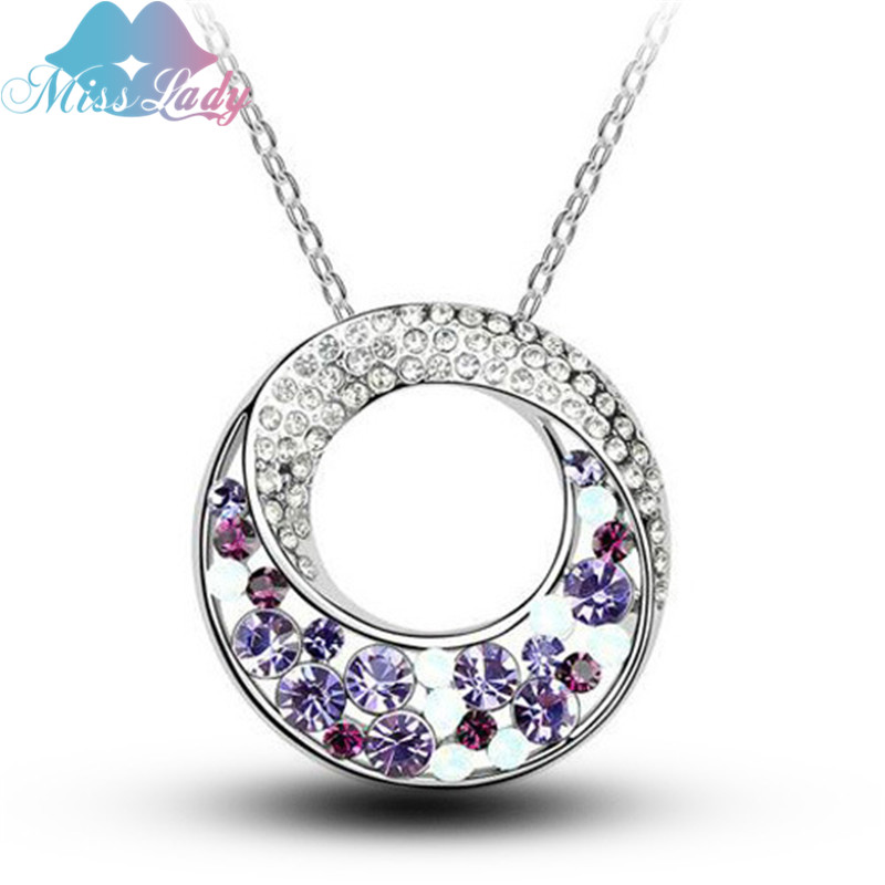 Miss Lady Rose Gold Plated Rhinestone Crystal Exaggerated Moon Necklaces & Pendants s Fashion Jewelry women MLY4672 - Show store