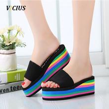 Women Sandals Platform Rainbow Non-Slip Thick Soled Female Wedge Women Slippers Summer 2016 Beach Slippers T0245(China (Mainland))