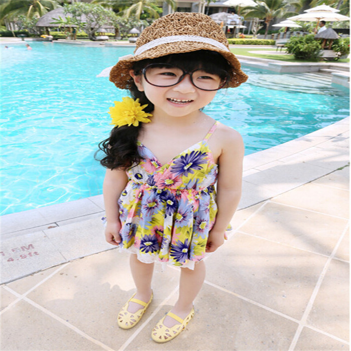 Children Cotton A-line Dress Baby Girls Summer 2015 Bohemian Floral Harness Robe Princesse Enfant Vestido(China (Mainland))