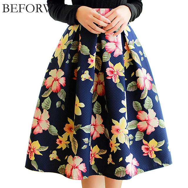 BEFORW бренд ампир плиссированные юбки женские Миди 4 цвета платье в 2016 году новых юбки зимой цветочек платье юбка карандаш женская одежда джинсовая юбка солнце