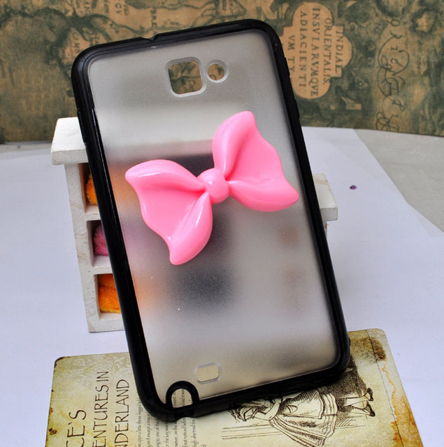 wholesale Frosted soft edge  case for Samsung galaxy  Note N7000 i9220 protective cover with resin bow [JCZL DIY Shop]