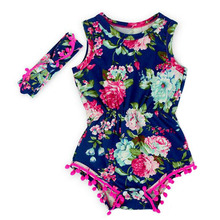 2016 floral dots infant baby rompers newborn baby girls pompom outfits cute toddler kids clothes 5pcs/lot(China (Mainland))
