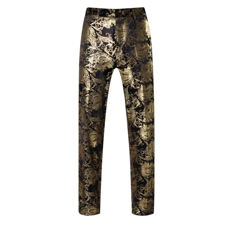 2017 Autumn Men's Fashion Gold flower print Casual Pants Male singer personality stage show performance trousers