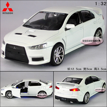 New1:32 Mitsubishi Landcer EVO X Diecast Model Car With Sound&Light White Toy collection B241