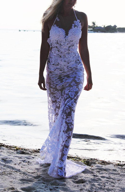 2015 sexy design halter neck backless white lace beach for White beach wedding dresses