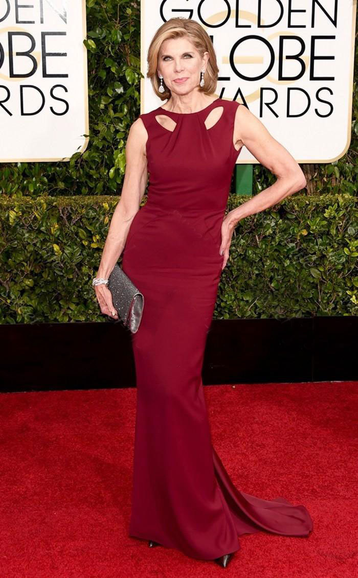 2016 Sexy Christine Baranski in 72nd Golden Globe ...