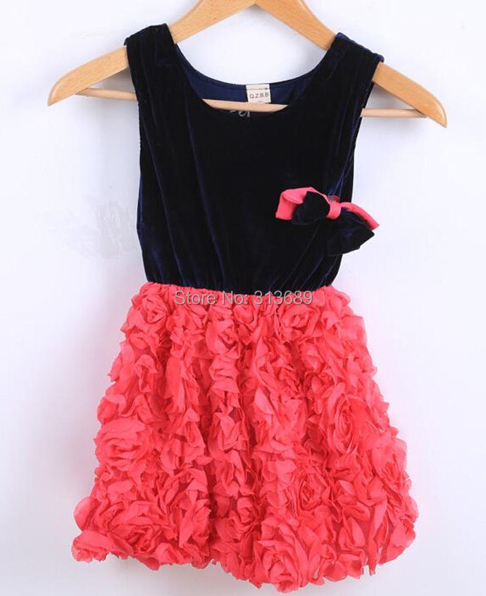 baby girls dress children costumes toddler clothing kid clothes flowers red beautiful cut curvy christmas Party kleider vestir(China (Mainland))