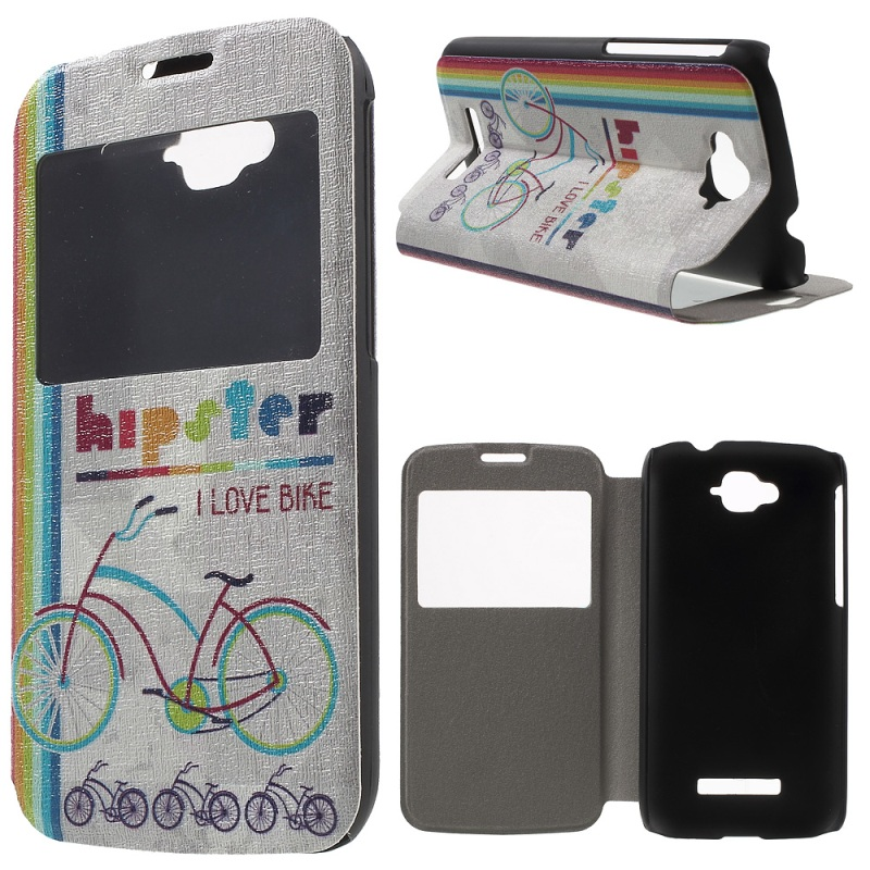 Window View Leather Cover for Alcatel One Touch Pop C 7 OT-7040E 7040F 7040D with Perfume Smell(China (Mainland))