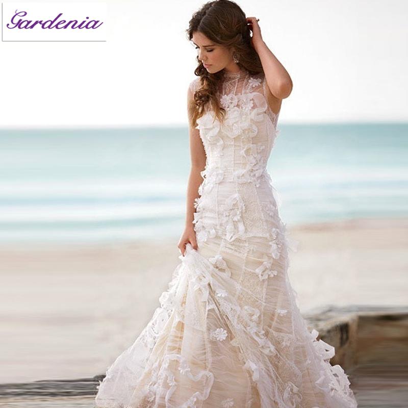 Fabulous Pink Beach Wedding Dress Vestido De Casamento Sheer Top Flower Appliques Long TrainRobe