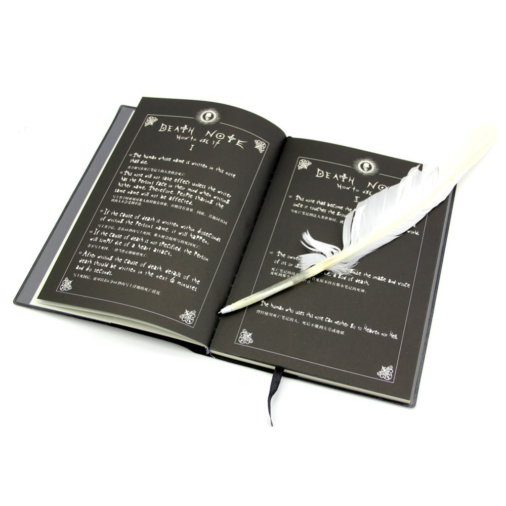 Anime Death Note Cosplay Notebook & Feather Pen Book Writing Journal Note Book(China (Mainland))