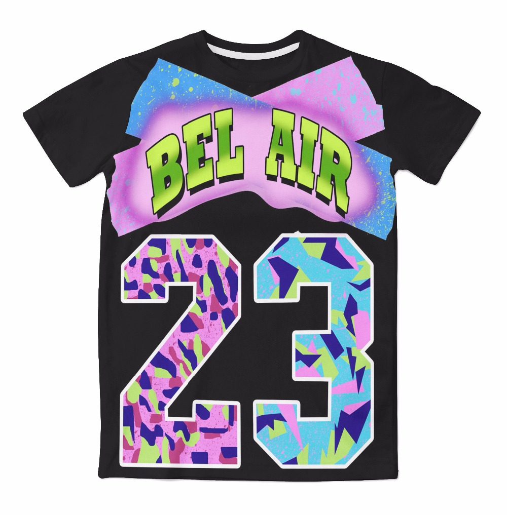 Real usa size bel air 23 fashion 3d sublimatin print t for T shirt printing usa