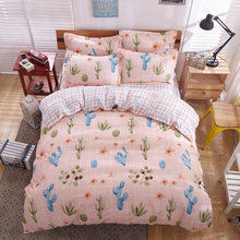 Bedding Set Modern simple style plant cactus 4/3pcs Duvet Cover Sets Soft Polyester Flat Bed Sheet Set Pillowcase Home Textile(China)