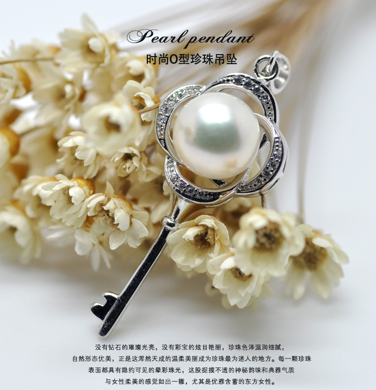 8-9mm Natural Freshwater pearl Necklaces & Pendants 925 silver key for women fashion pearls jewelry(China (Mainland))