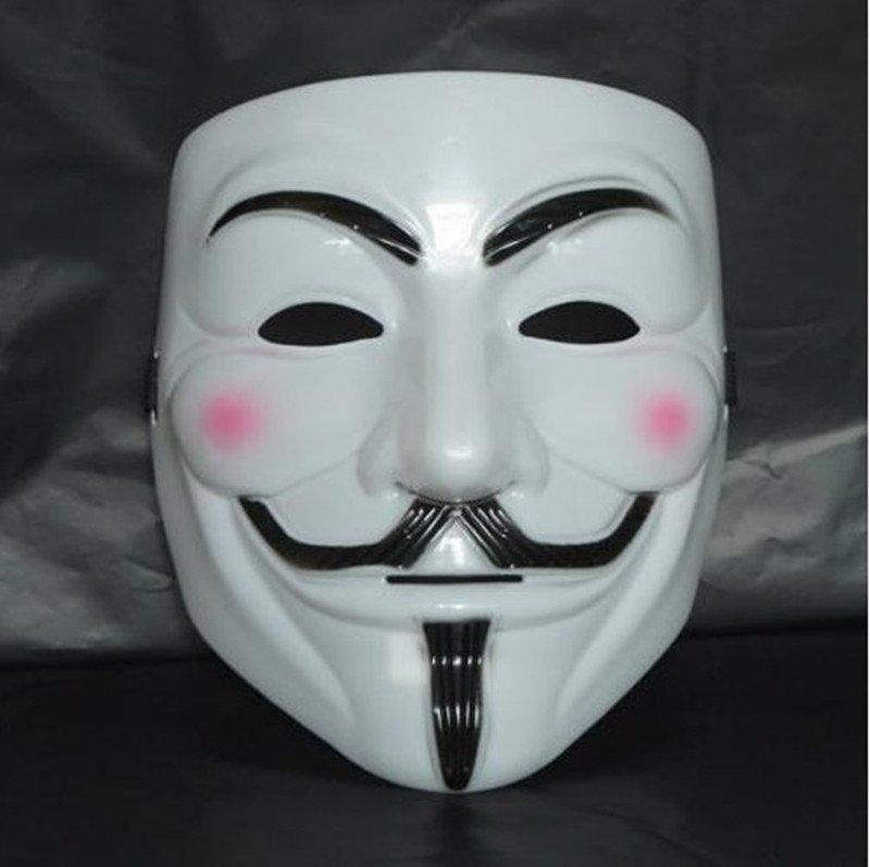 Guy fawkes white V vendetta team pink blood scar masquerade masks Halloween carnival Mask(adult size)