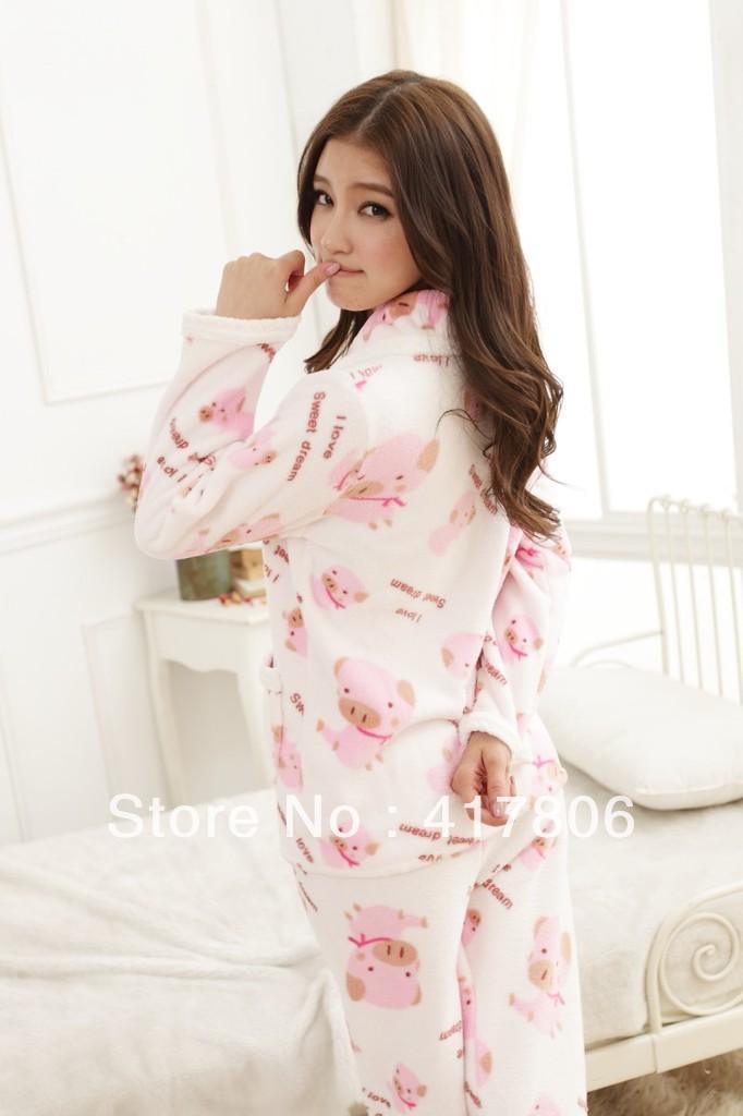 Girls cute pajamas Thick coral fleece pajamas Girls home ...