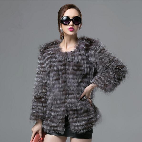 New Fashion Best Women's Natural Fox Fur Coat Woman Winter Real Silver Fur Coat Genuine Furs Coats Ladies Luxury Fur Jacket(China (Mainland))