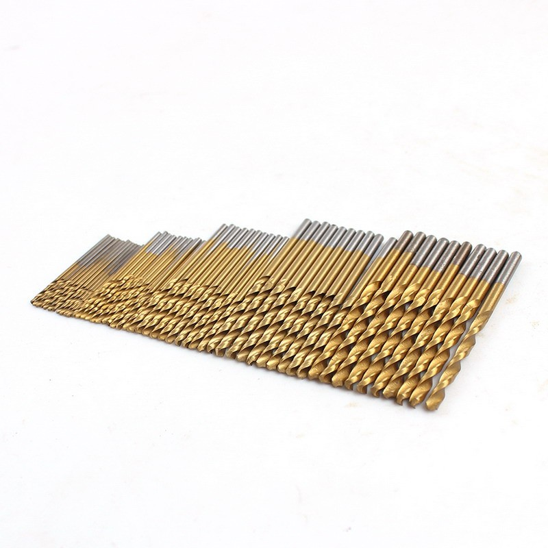 Hot Selling 50pcs 1/1.5/2/2.5/3mm HSS High Speed Steel Drill Bit Set Tools Titanium Coated VEP37 P10