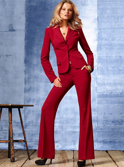 High Quality Slim Suit Custom Made Red Office Ladies Work Wear Women Pant Suits Formal Female ...