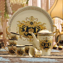 8 pieces luxury european style coffee set, bone china tea set, high quality Hermes theme coffee set